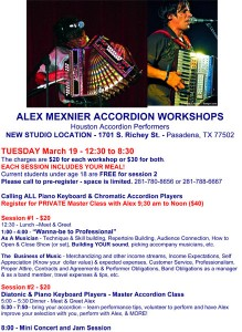 Alex Meixner will be at Houston Accordion Performers Studio for