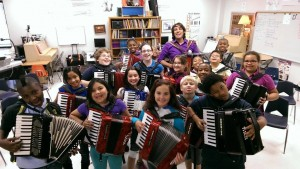 Alex teaching an accordion masterclass at a school in Pearland, Texas in March 2014.