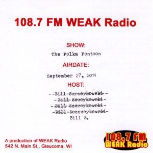 108.7 FM WEAK Radio Polka Pontoon