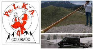 POLK of A Logo, Alex Playing Alpen Horn, Snow Covered Van