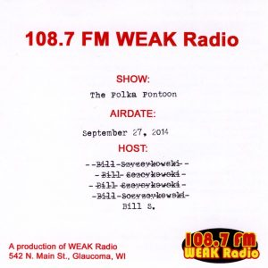 108.7 FM WEAK Radio Polka Pontoon