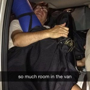 Hank gets comfy in the van