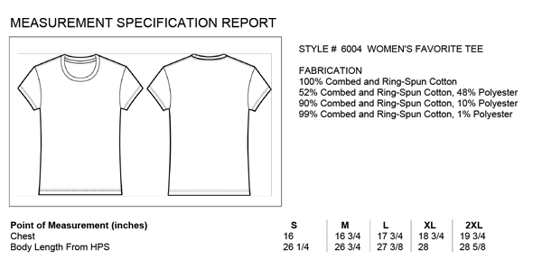 Bella Women's Size Chart