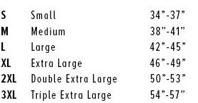 Bella 3001 Size Chart