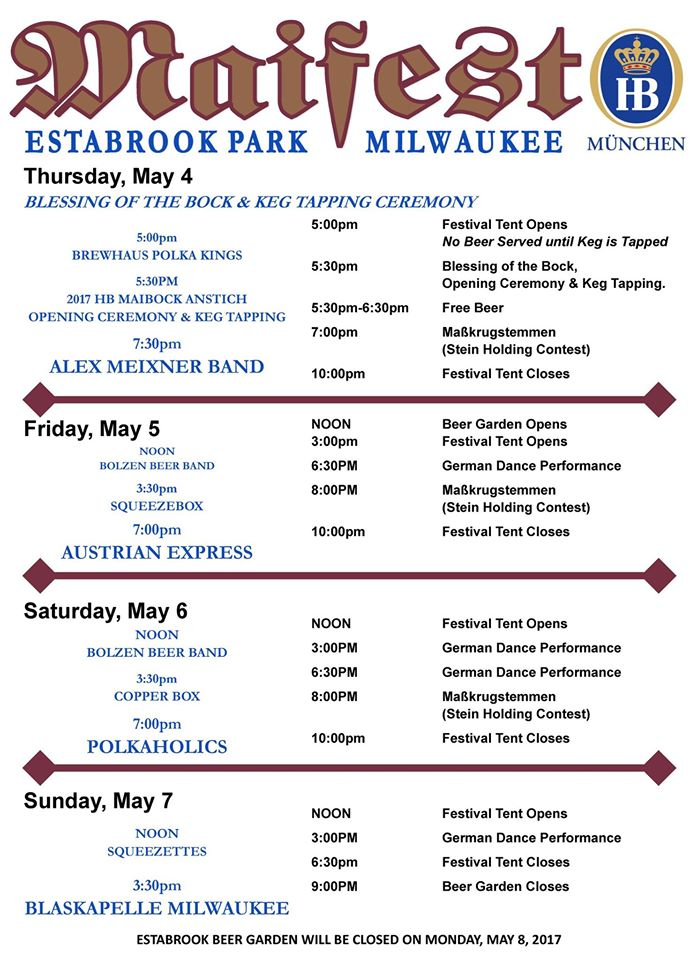 Maifest 2017 Schedule