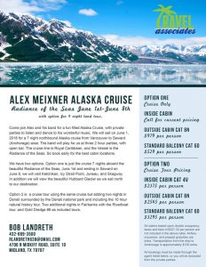 Cruise to Alaska with the Alex Meixner Band June 2018