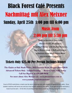 April 25 - Alex Meixner at the Black Forest Cafe